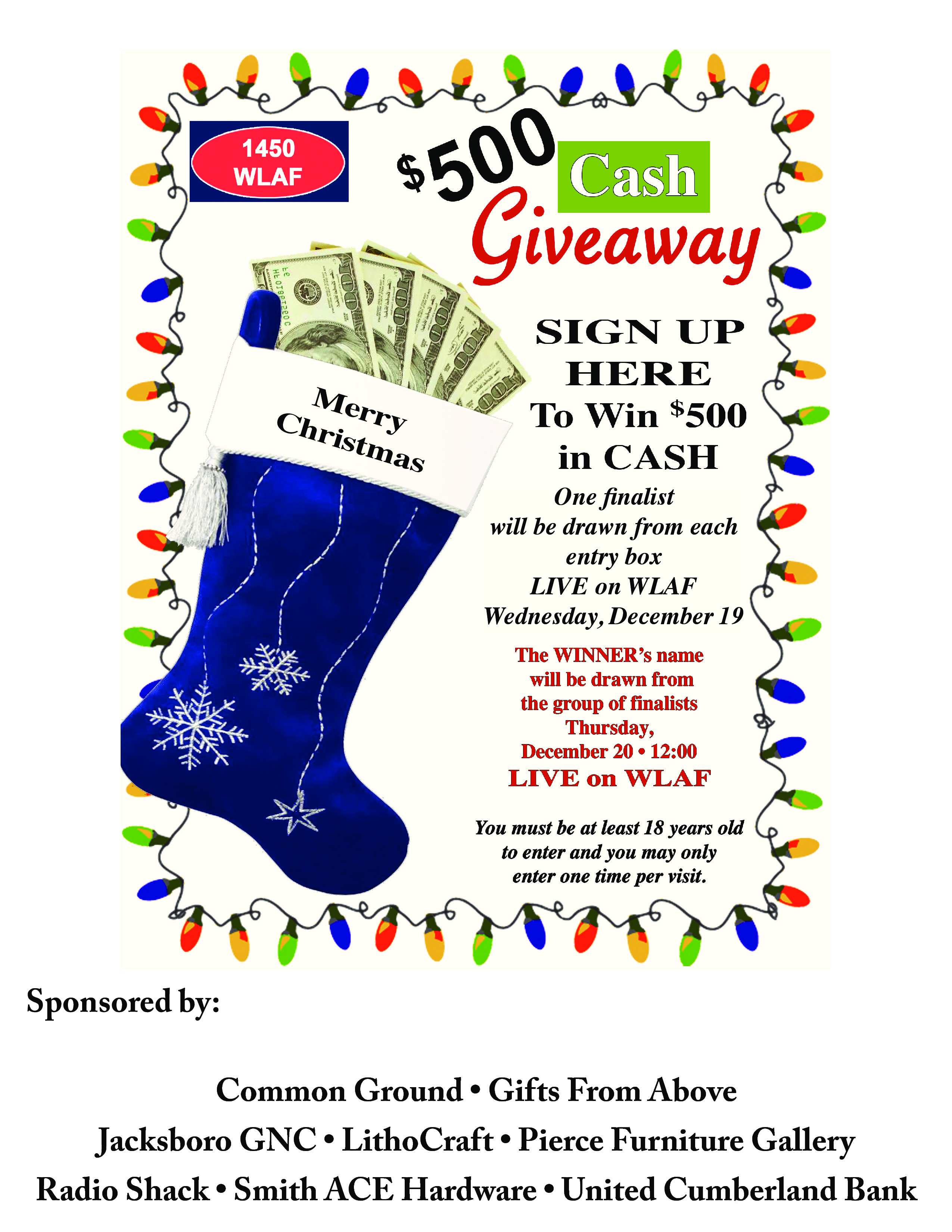 You could win $500 just in time for Christmas – WLAF