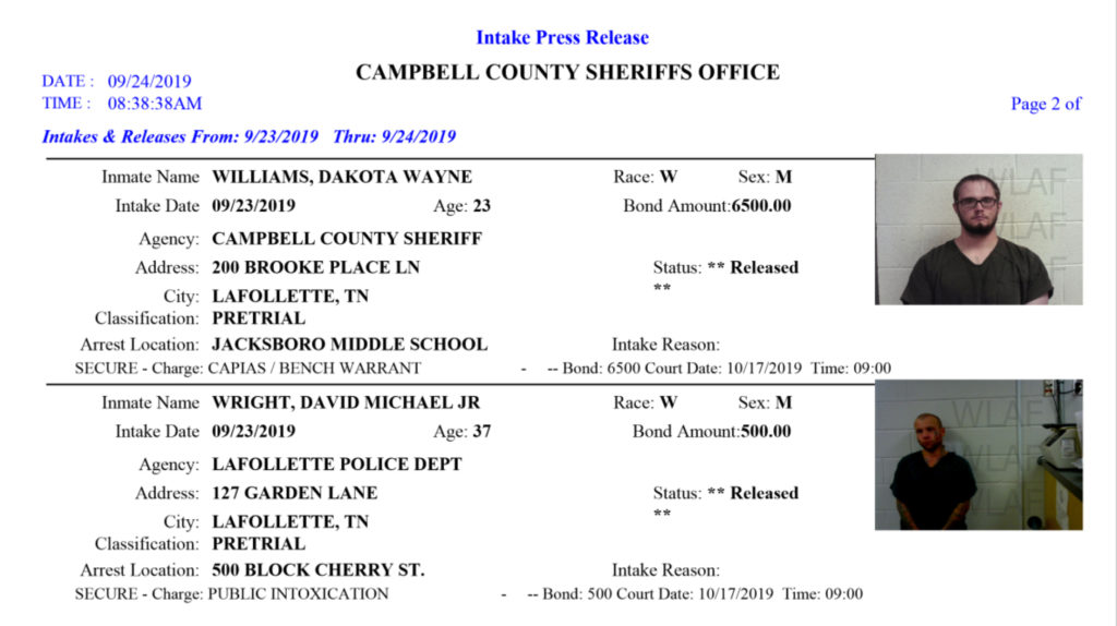 6 Arrests on this Tuesday, September 24, 2019 Arrest Report